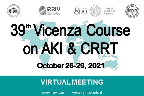 39th Vicenza Course on AKI & CRRT